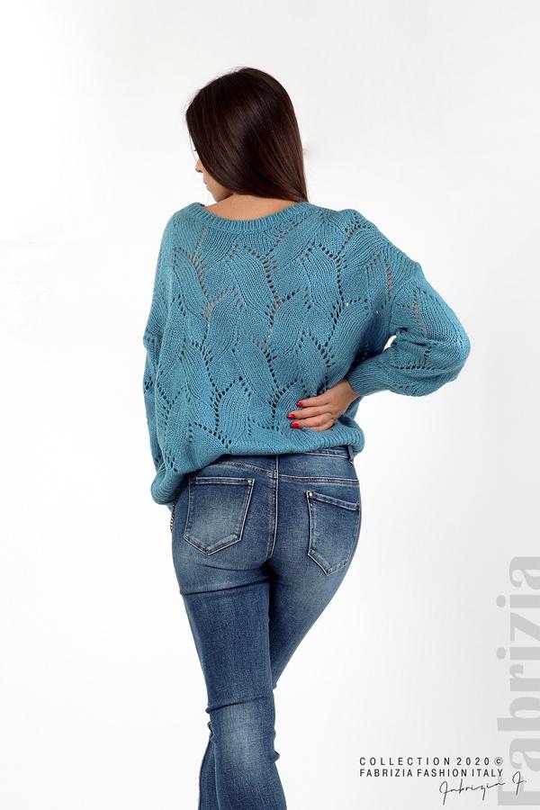 Свободна блуза едро плетиво д.син 5 fabrizia