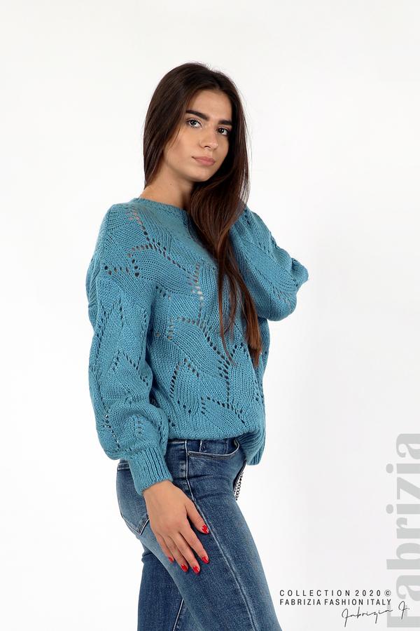 Свободна блуза едро плетиво д.син 1 fabrizia