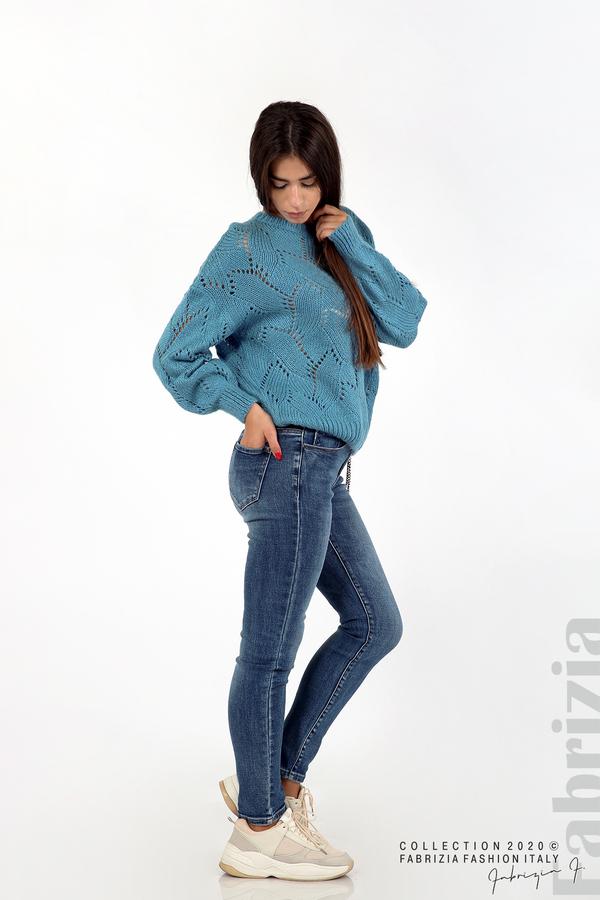 Свободна блуза едро плетиво д.син 4 fabrizia
