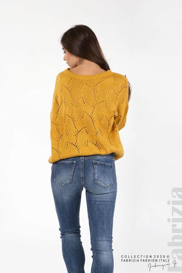 Свободна блуза едро плетиво охра 5 fabrizia