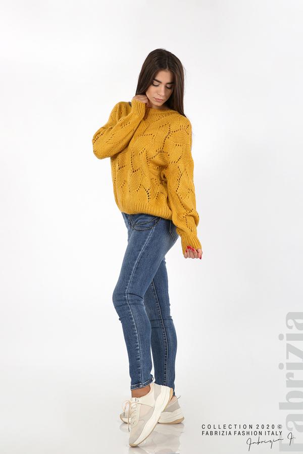 Свободна блуза едро плетиво охра 3 fabrizia