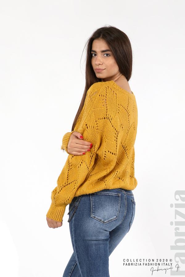 Свободна блуза едро плетиво охра 4 fabrizia