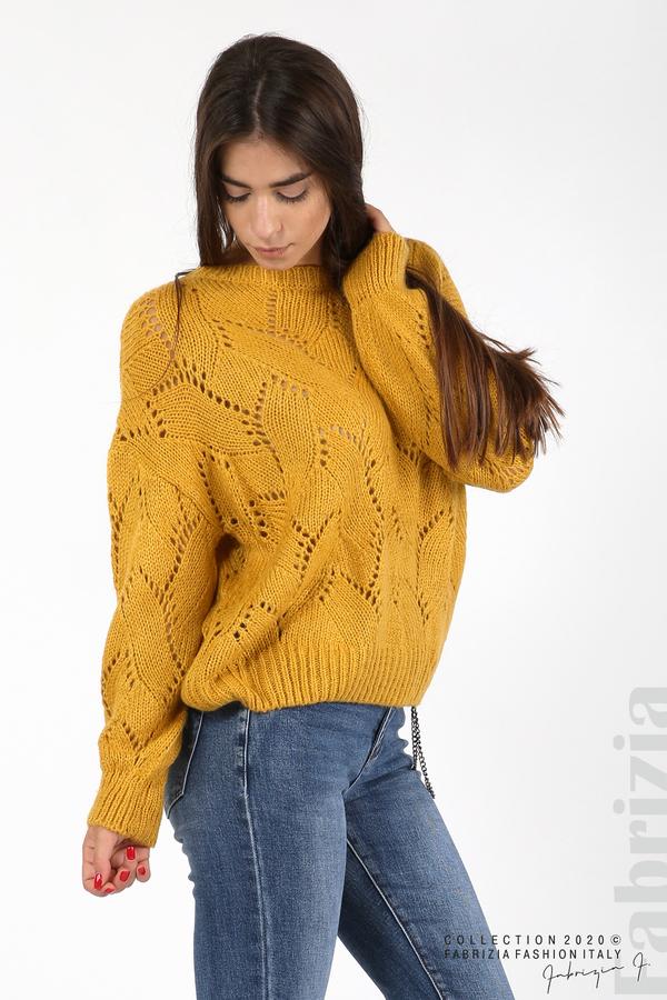 Свободна блуза едро плетиво охра 2 fabrizia