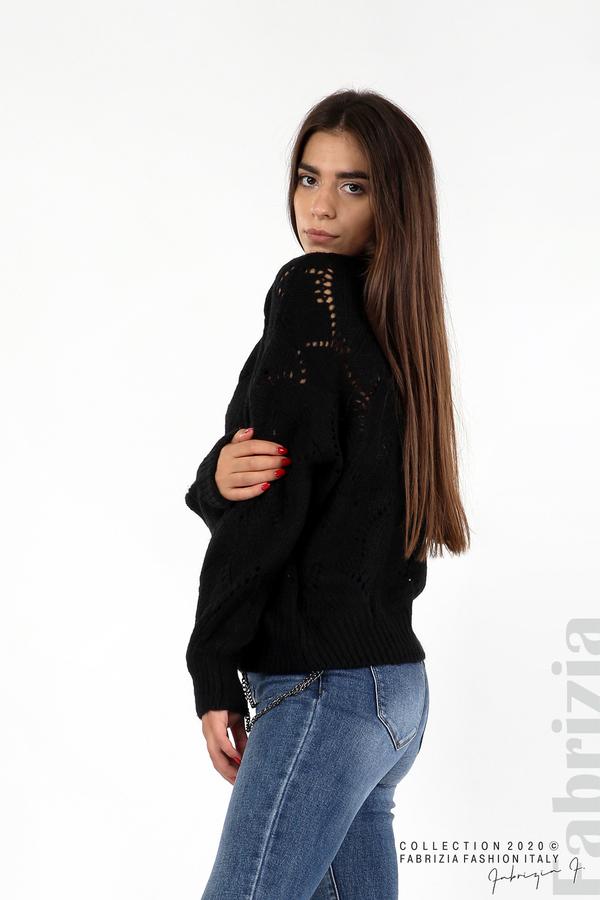 Свободна блуза едро плетиво черен 1 fabrizia
