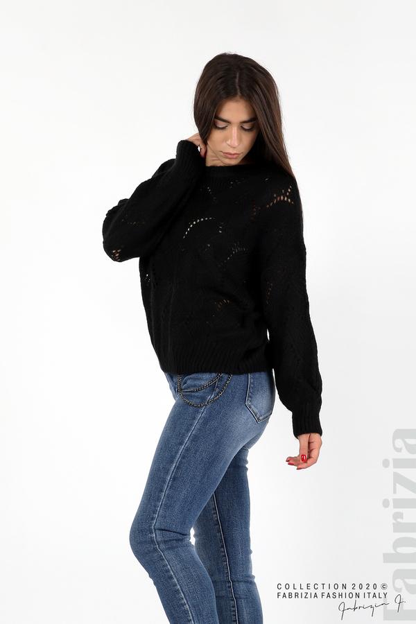Свободна блуза едро плетиво черен 4 fabrizia
