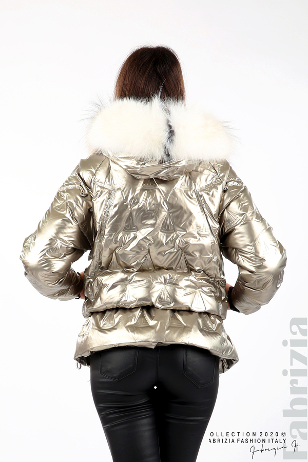 Дълго яке с качулка с естествен косъм златист 6 fabrizia