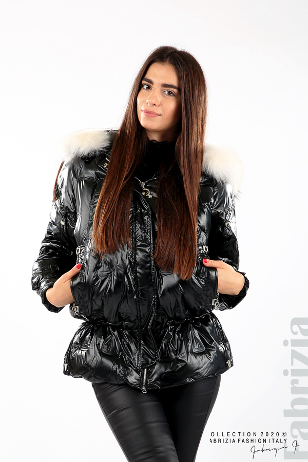 Дълго яке с качулка с естествен косъм черен 1 fabrizia