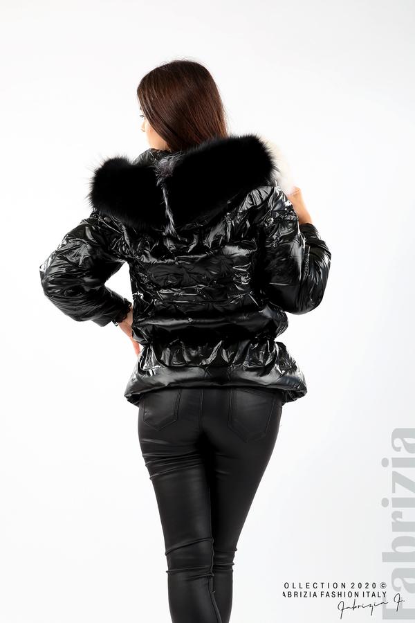 Дълго яке с качулка с естествен косъм черен 5 fabrizia
