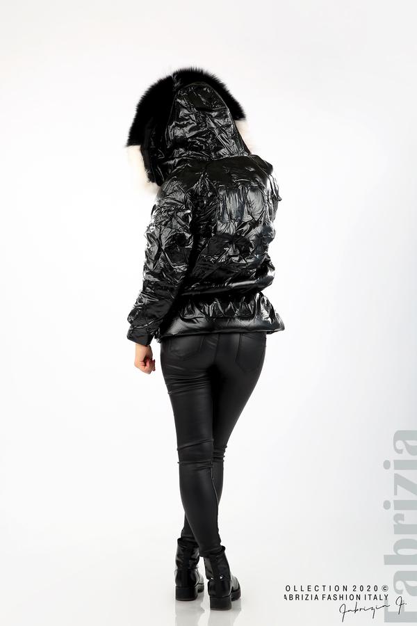 Дълго яке с качулка с естествен косъм черен 6 fabrizia