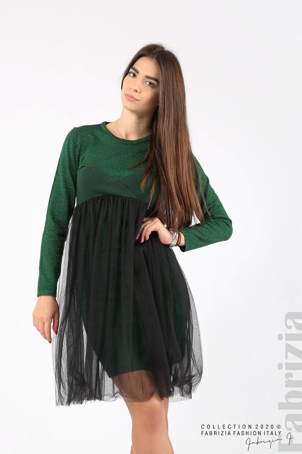Комплект рокля с ламе и пола от тюл т.зелен 3 fabrizia
