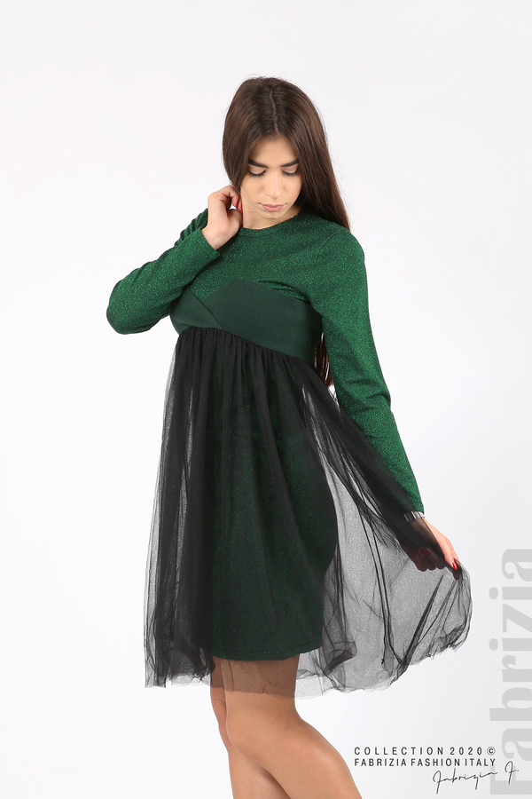 Комплект рокля с ламе и пола от тюл т.зелен 4 fabrizia