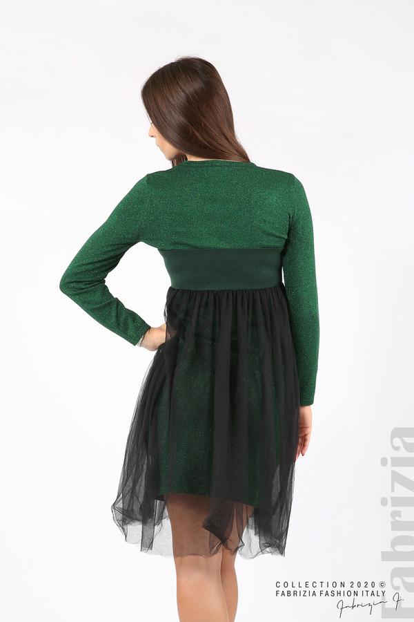 Комплект рокля с ламе и пола от тюл т.зелен 5 fabrizia
