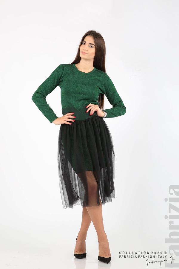 Комплект рокля с ламе и пола от тюл т.зелен 7 fabrizia