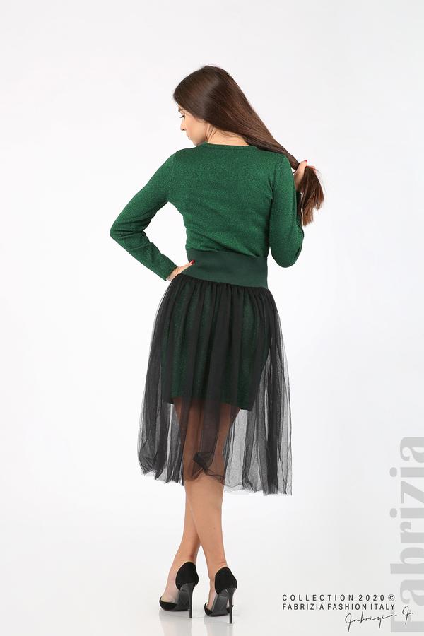 Комплект рокля с ламе и пола от тюл т.зелен 8 fabrizia