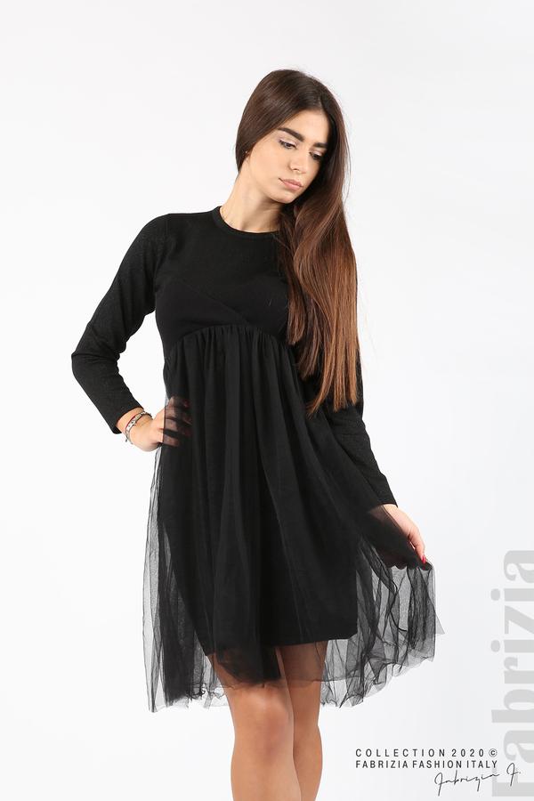 Комплект рокля с ламе и пола от тюл черен 1 fabrizia