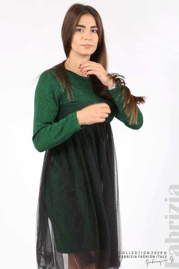 Комплект рокля с ламе и пола от тюл т.зелен 6 fabrizia