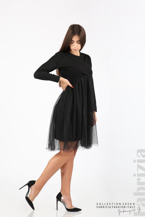 Комплект рокля с ламе и пола от тюл черен 3 fabrizia