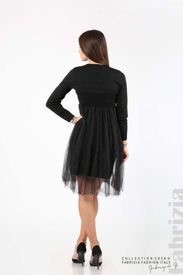 Комплект рокля с ламе и пола от тюл черен 9 fabrizia