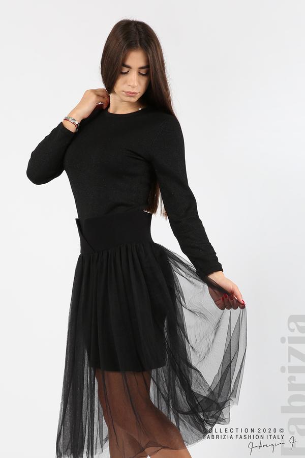 Комплект рокля с ламе и пола от тюл черен 4 fabrizia