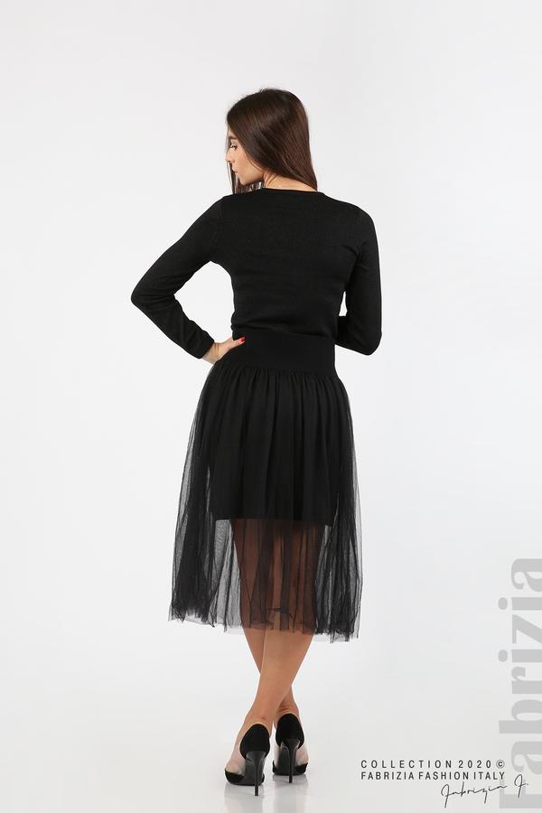Комплект рокля с ламе и пола от тюл черен 5 fabrizia