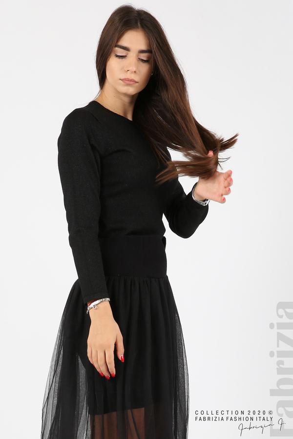 Комплект рокля с ламе и пола от тюл черен 6 fabrizia