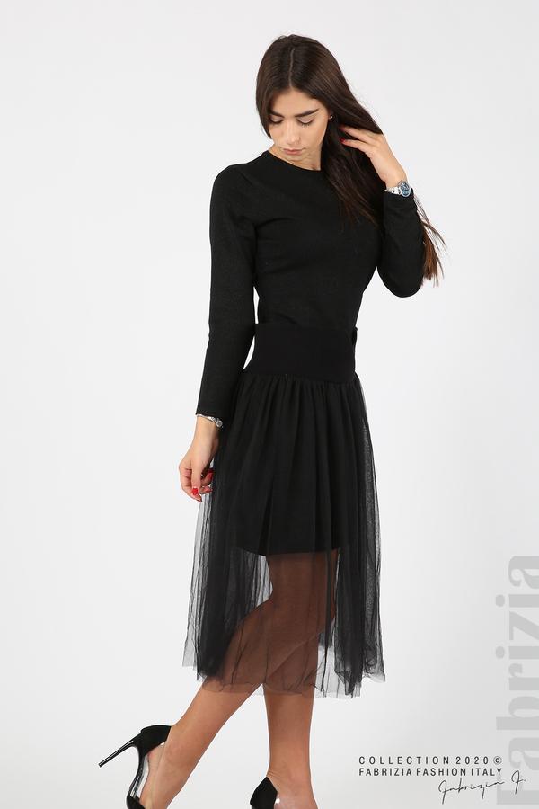 Комплект рокля с ламе и пола от тюл черен 7 fabrizia