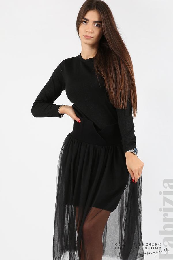 Комплект рокля с ламе и пола от тюл черен 8 fabrizia
