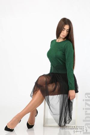 Комплект рокля с ламе и пола от тюл