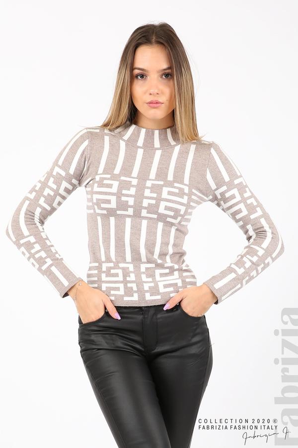 Дамска фигурална блуза мляко с какао 1 fabrizia