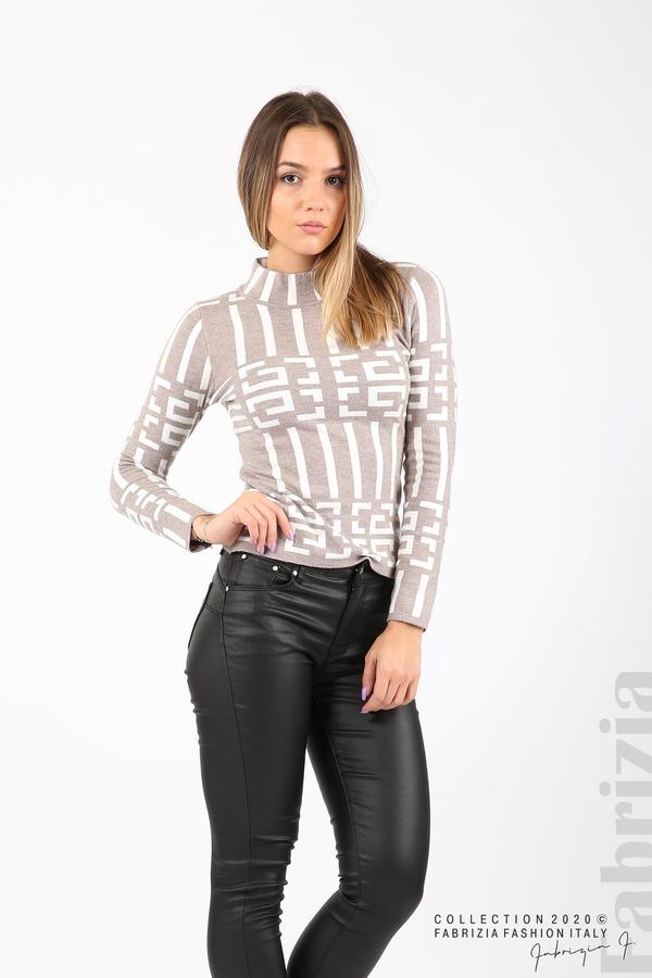 Дамска фигурална блуза мляко с какао 4 fabrizia