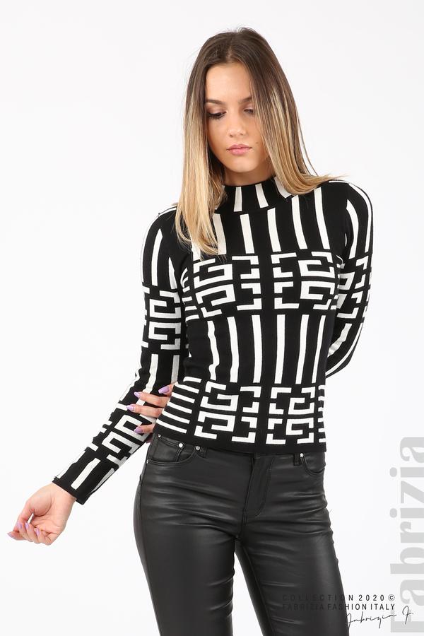Дамска фигурална блуза черен 2 fabrizia