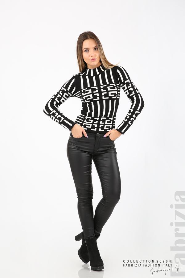 Дамска фигурална блуза черен 3 fabrizia