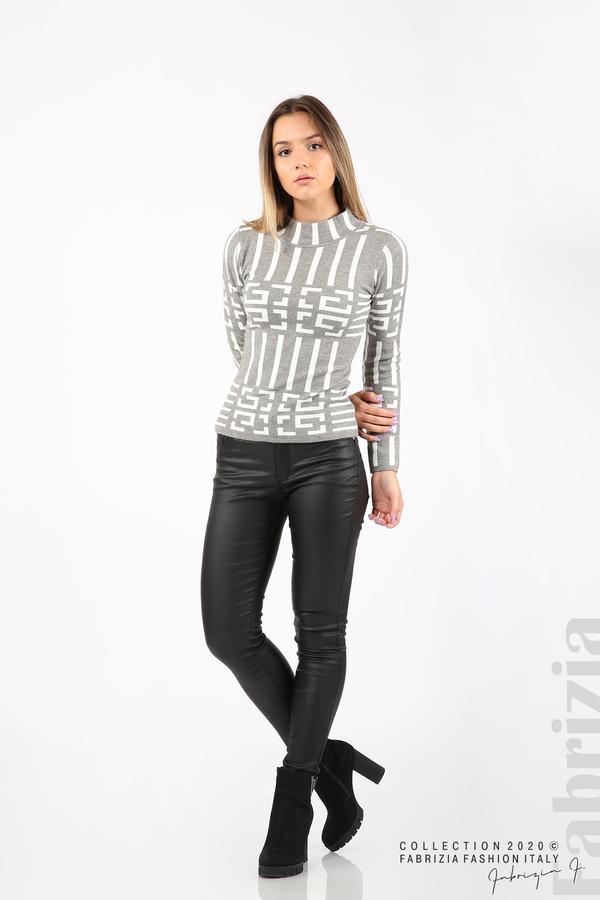 Дамска фигурална блуза сив 3 fabrizia