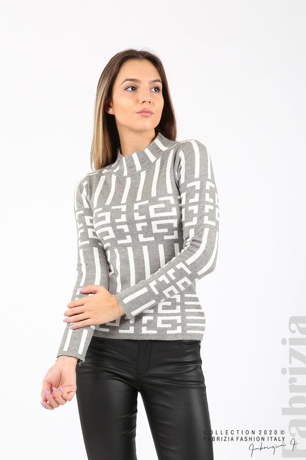 Дамска фигурална блуза сив 1 fabrizia