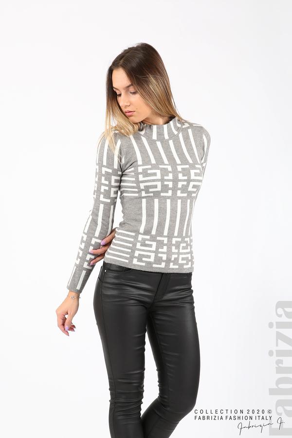 Дамска фигурална блуза сив 4 fabrizia