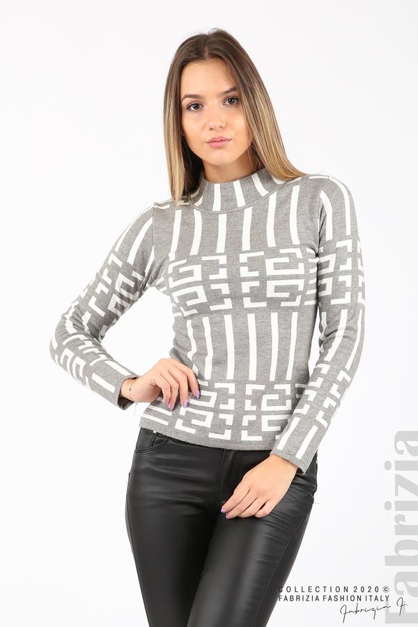 Дамска фигурална блуза сив 2 fabrizia