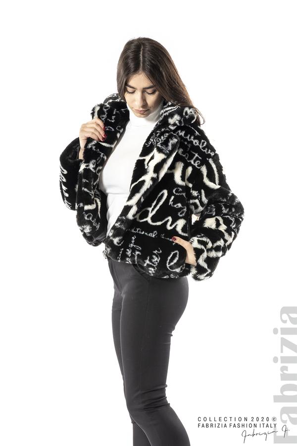 Късо палто с надписи черен 3 fabrizia