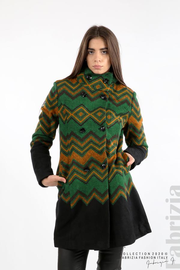 Вталено фигурално палто зелен 1 fabrizia