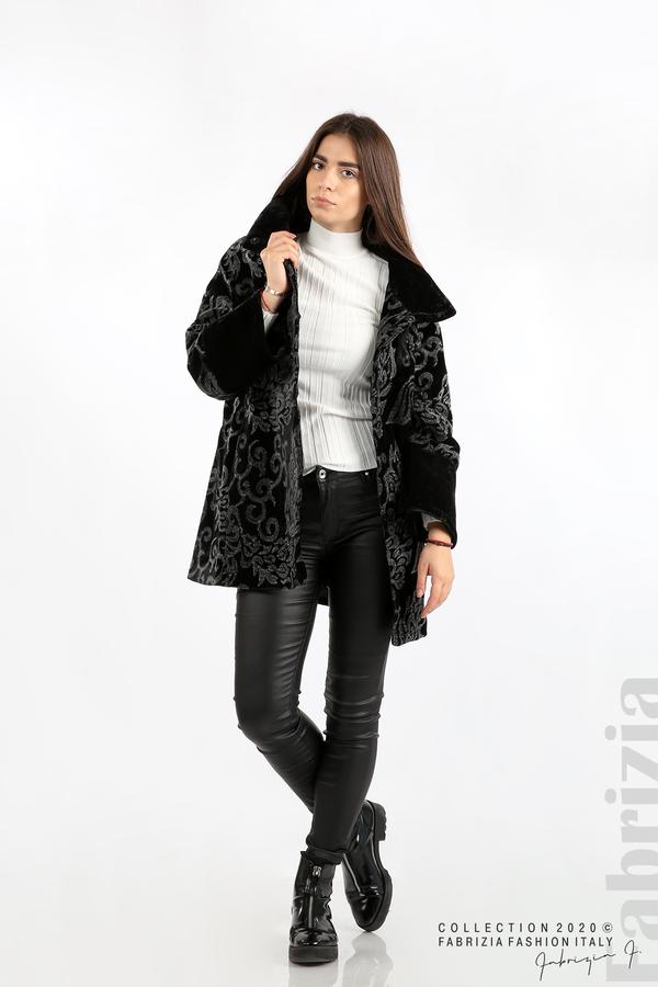 Палто с флорални елементи черен/сив 3 fabrizia