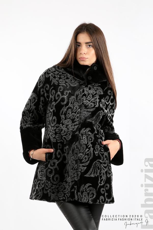 Палто с флорални елементи черен/сив 4 fabrizia
