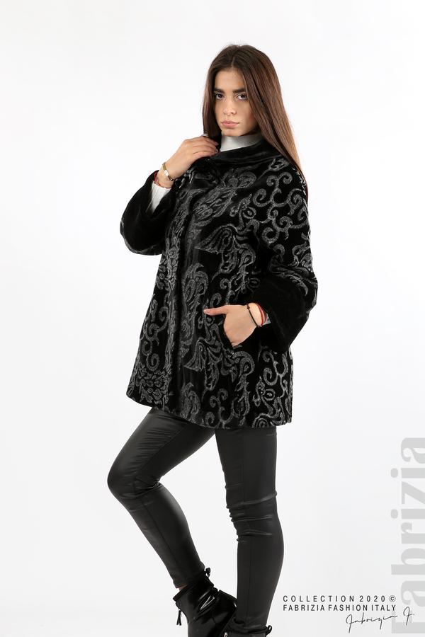Палто с флорални елементи черен/сив 5 fabrizia