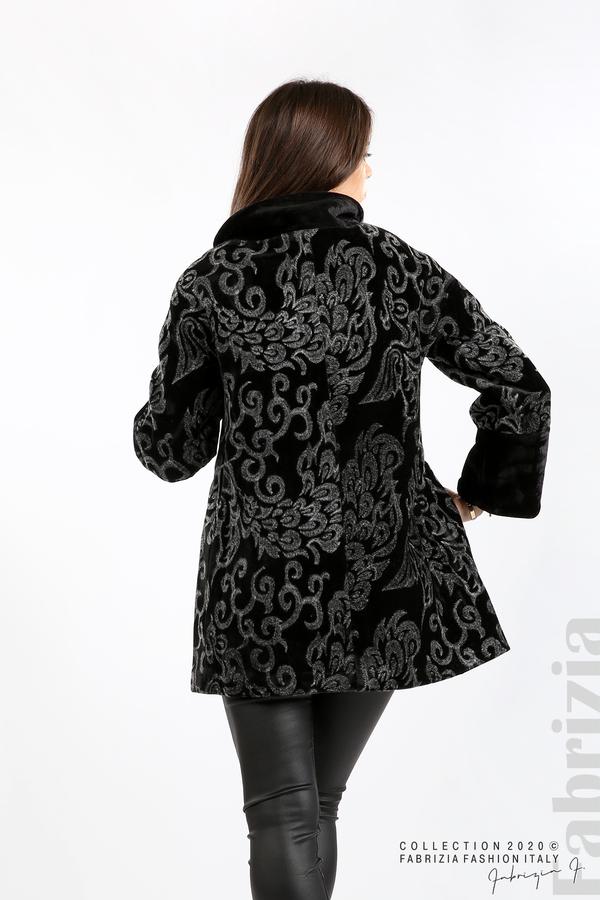 Палто с флорални елементи черен/сив 6 fabrizia