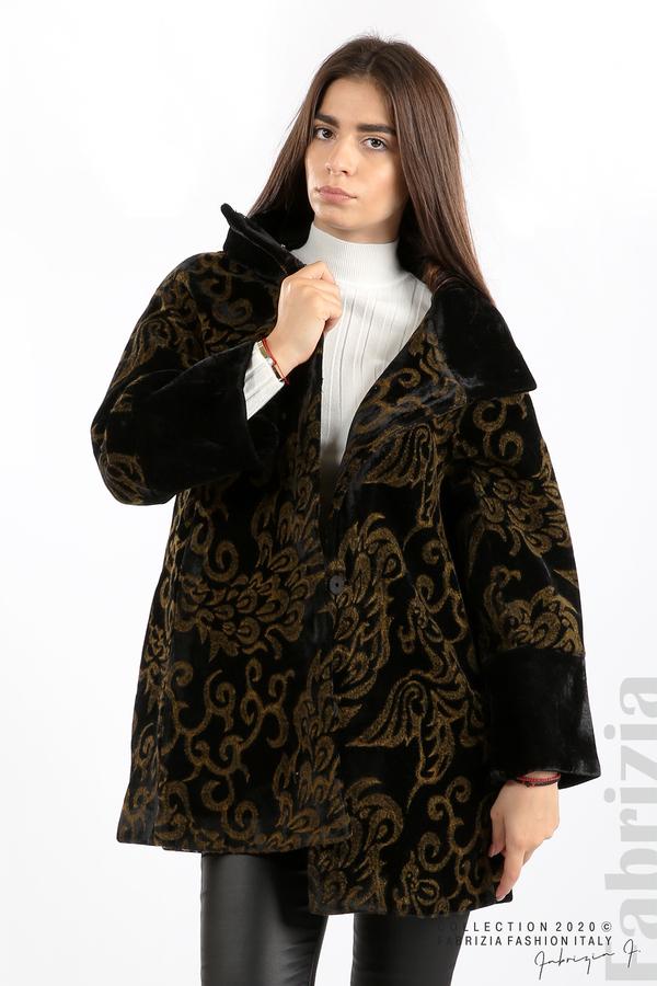 Палто с флорални елементи черен/горчица 2 fabrizia