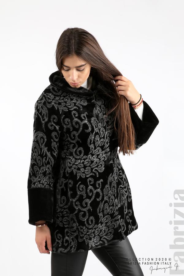 Палто с флорални елементи черен/сив 1 fabrizia