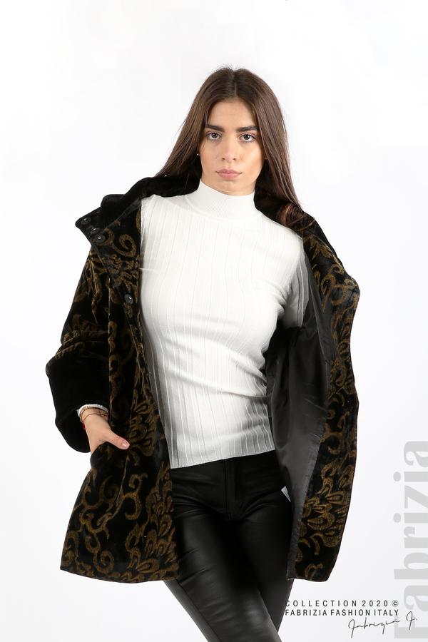Палто с флорални елементи черен/горчица 1 fabrizia