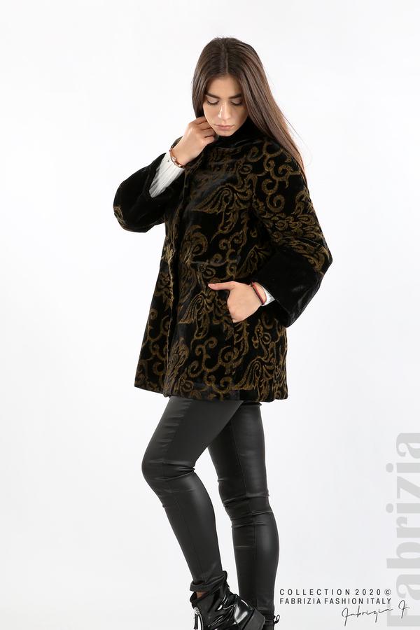 Палто с флорални елементи черен/горчица 3 fabrizia