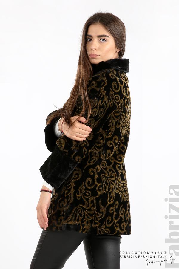 Палто с флорални елементи черен/горчица 5 fabrizia