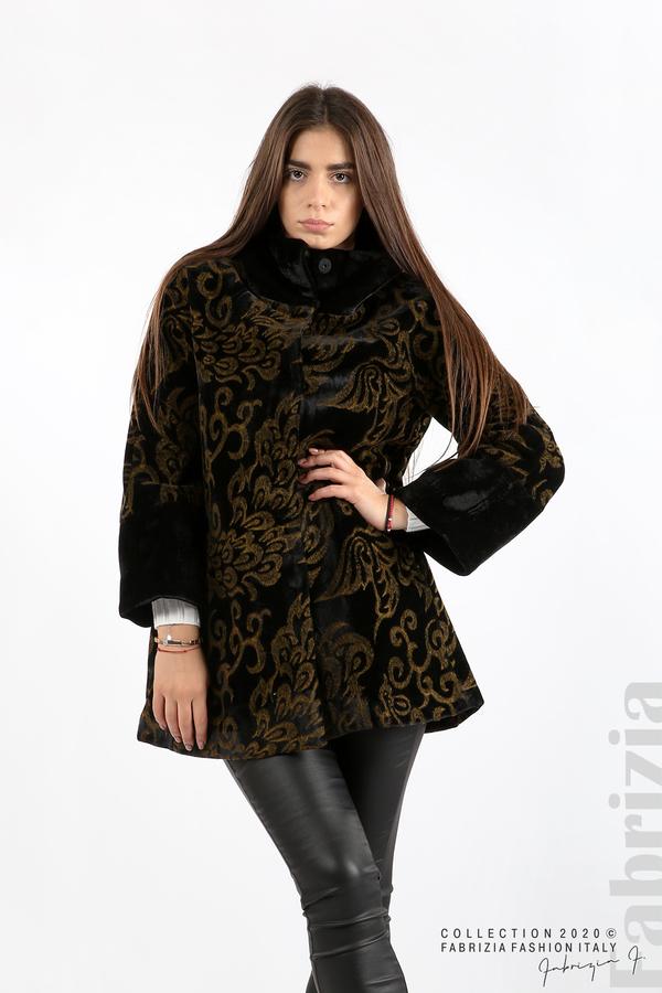 Палто с флорални елементи черен/горчица 4 fabrizia
