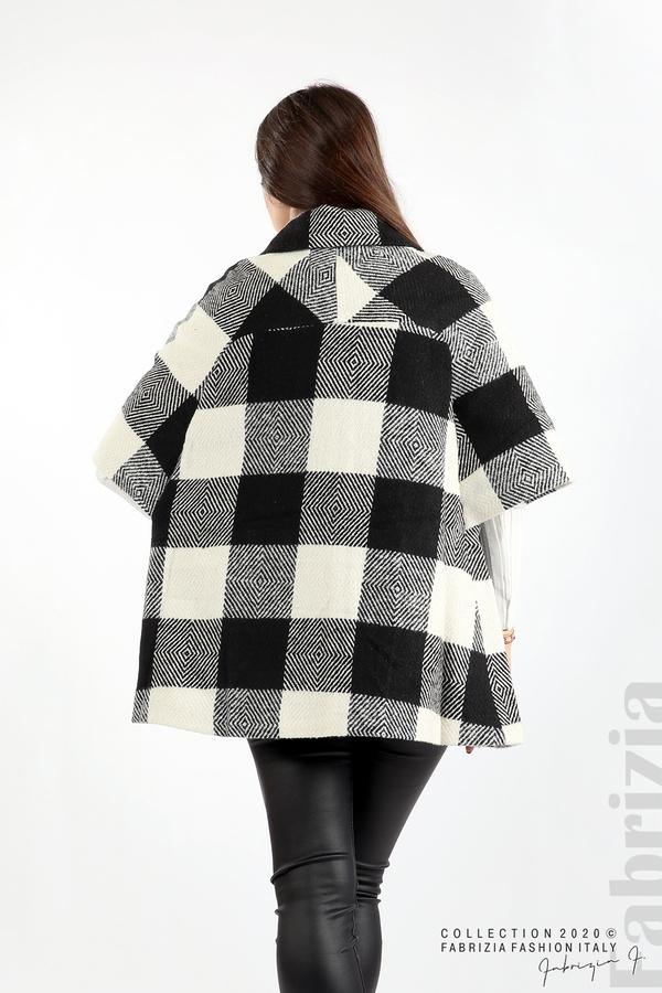 Палто с двуредно закопчаване и 3/4 ръкави черен/екрю 7 fabrizia