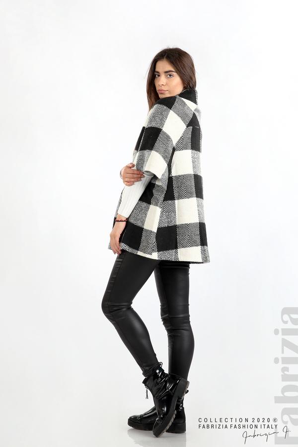 Палто с двуредно закопчаване и 3/4 ръкави черен/екрю 6 fabrizia